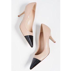 LK Bennett patent leather tan and black heels